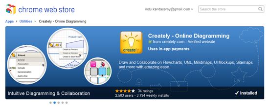 Creately, now featured in Google's Chrome web store