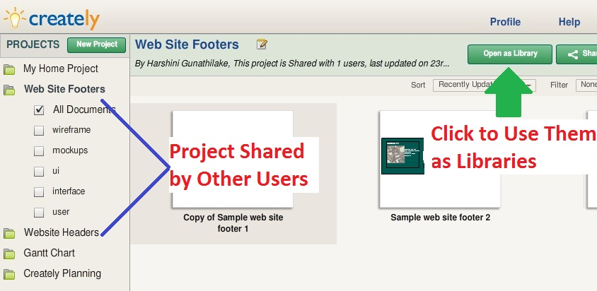 Use shared projects as libraries in Creately
