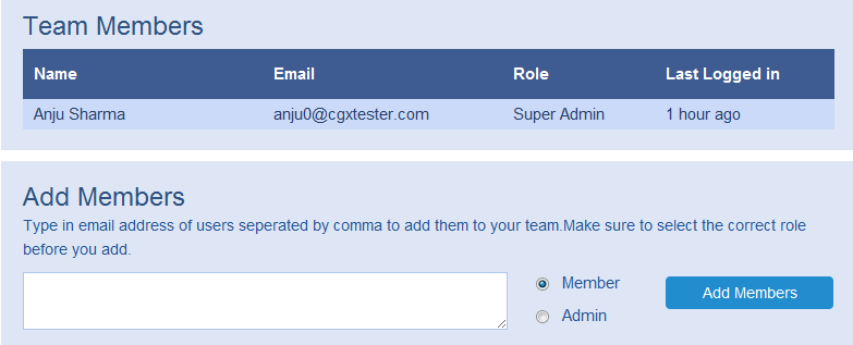 Easily add team members and control their access levels