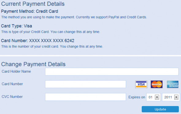Change Payment details in my billing section of user profile