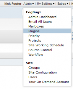 Fogbugz Ondemand admin menu showing the plugin option highlighted
