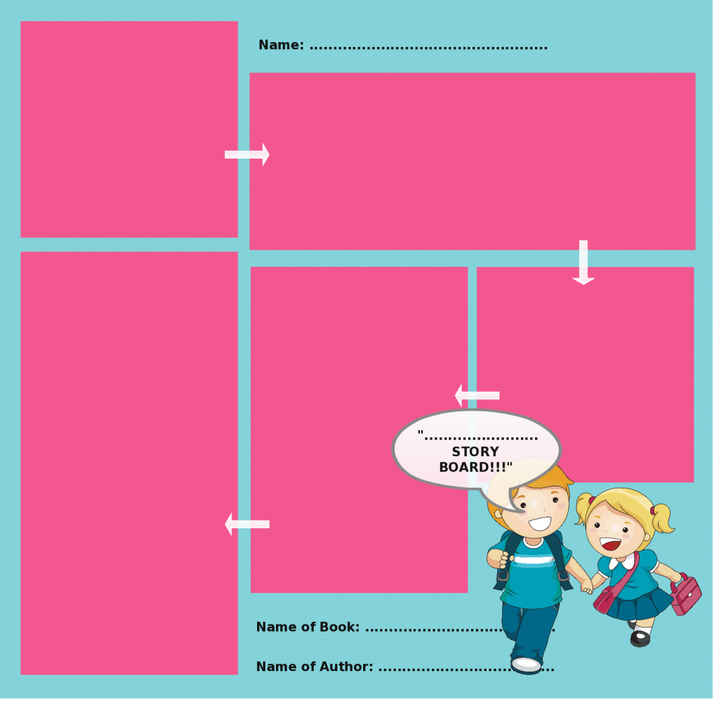 Storyboard templates with unique designs for kids and general usage storyboard template with graphics and different size visual boxes saigontimesfo