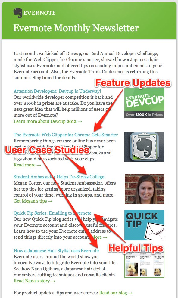 How Evernote market their startup with newsletter