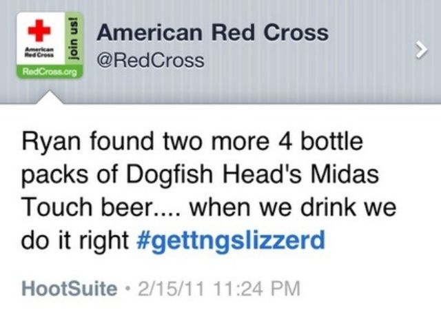 The embarrassing tweet send from Red Cross account, a good example of popular brand avoiding a PR disasters