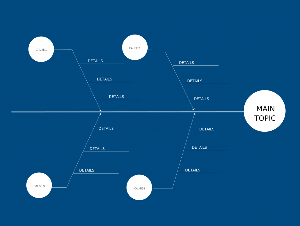 Flat Design Fishbone Diagram Template