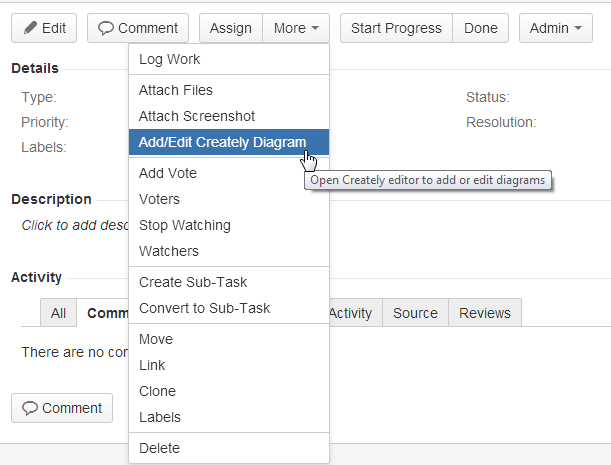Create your diagrams with Creately plugin which is compatible with JIRA v6.2.4