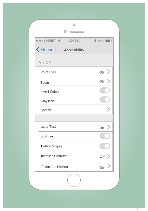 IPhone Accessibility Settings Screen Mockup