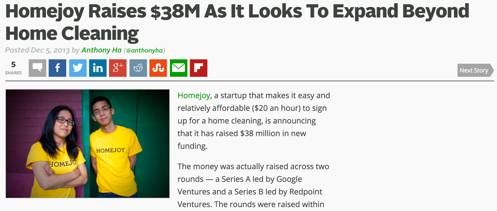 New Story - Homejoy raises $38 million