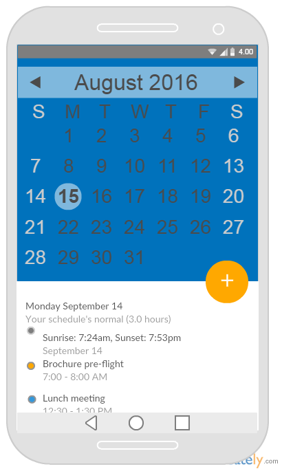 Android Mockup Templates for Calendar Apps