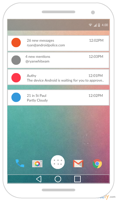 Android Notification Manager Mockup Template
