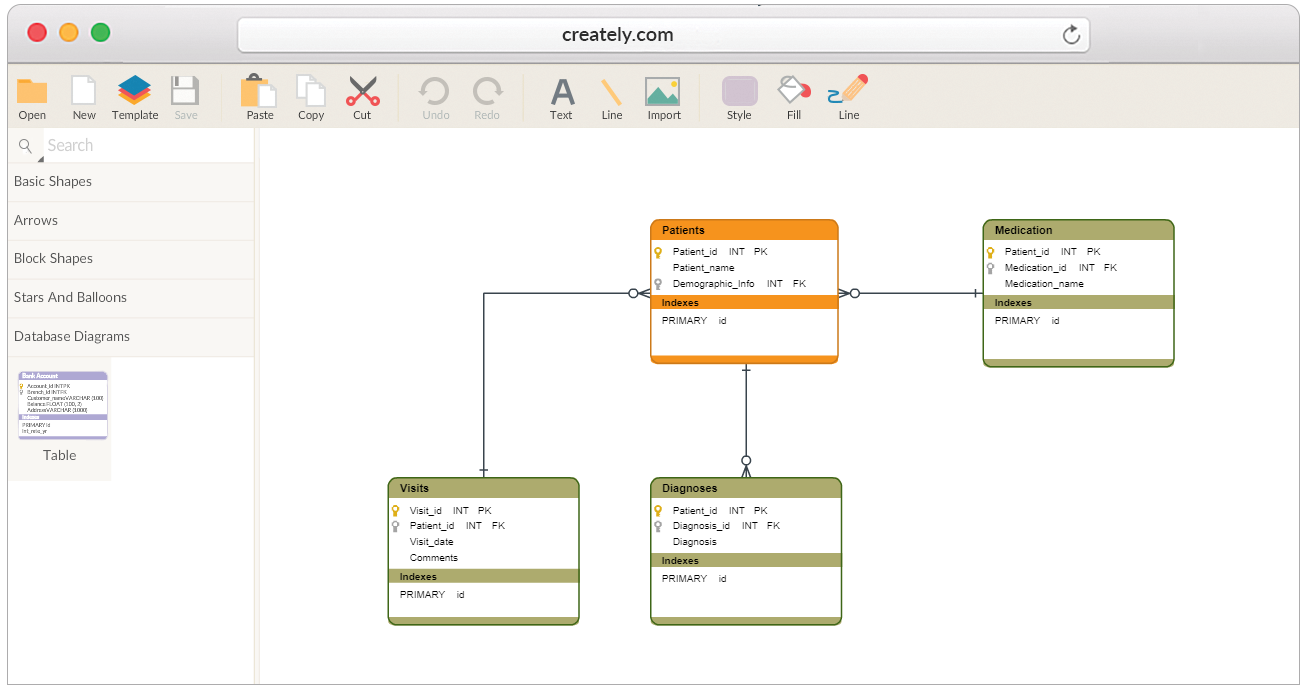 Database design tool create database diagrams online for Create design online