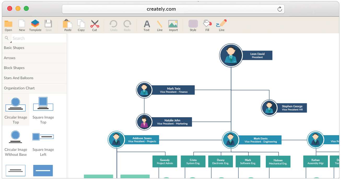 Draw organizational charts online with amazing ease hierarchy charts tools and templates to create organizational charts ccuart Gallery
