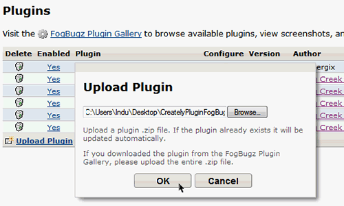 Upload Creately Fogbugz Plugin