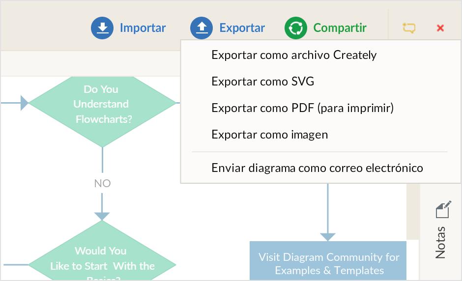 Muchas opciones para presentar y exportar