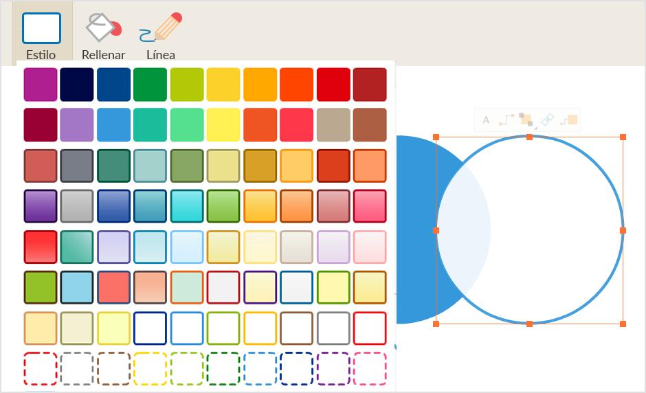 Crea un diagrama de Venn en línea utilizando plantillas y herramientas avanzadas de estilo