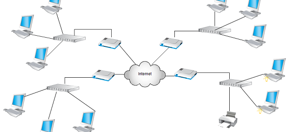 Network diagram templates at Creately includes network topology diagrams