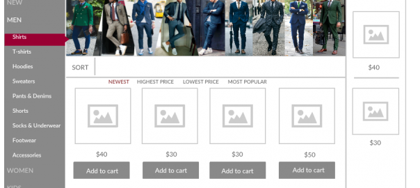 UI Mockup Template of a Web Store- Shopping Cart