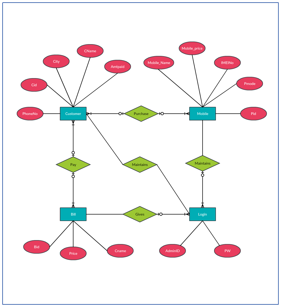 Entity relationship diagram to represent data