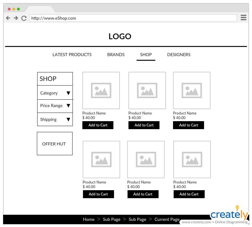 Retail Store Wireframe Template