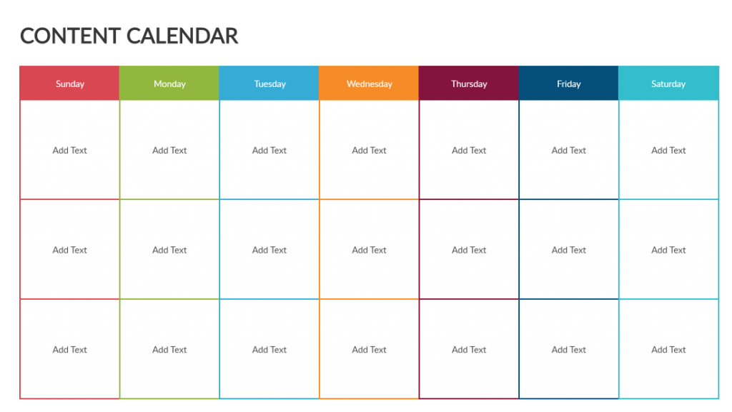 Content Calendar Template - creating a content strategy
