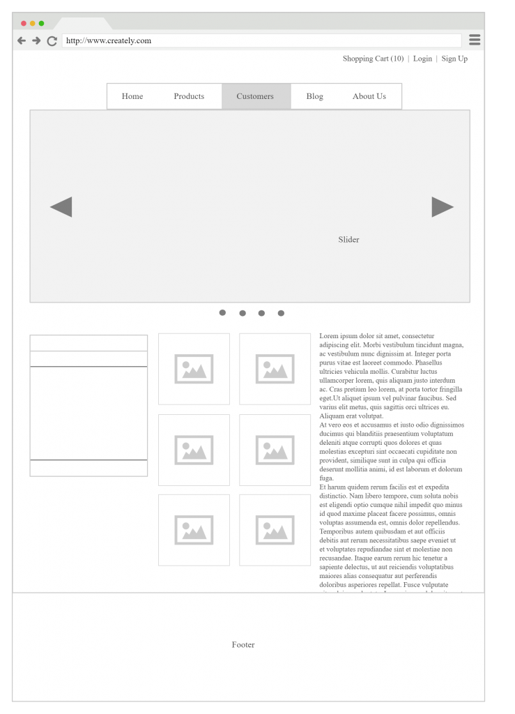 Example of a Wireframe Mock