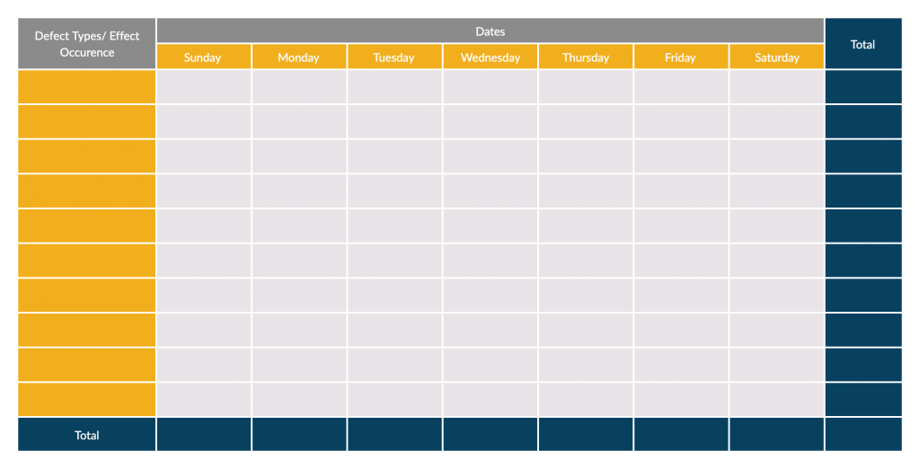 Check Sheet Template 7 Quality Tools
