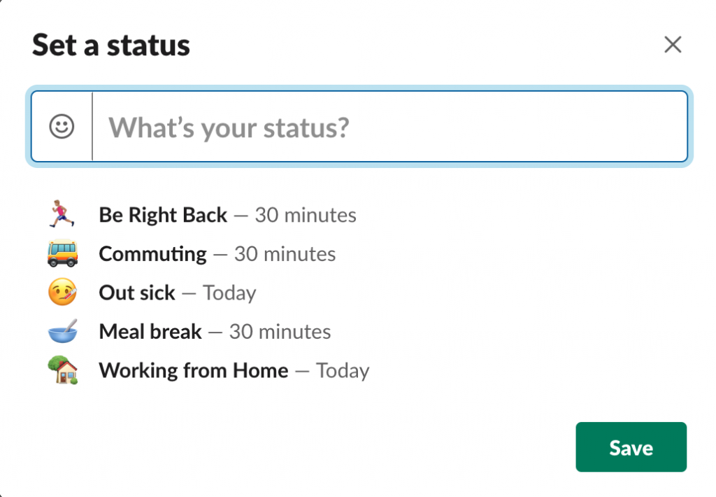 Working from home Slack Availability Status