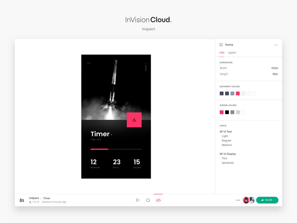 Captura de pantalla del producto InVision