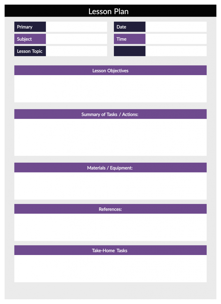Lesson Plan Template for Teaching from Home