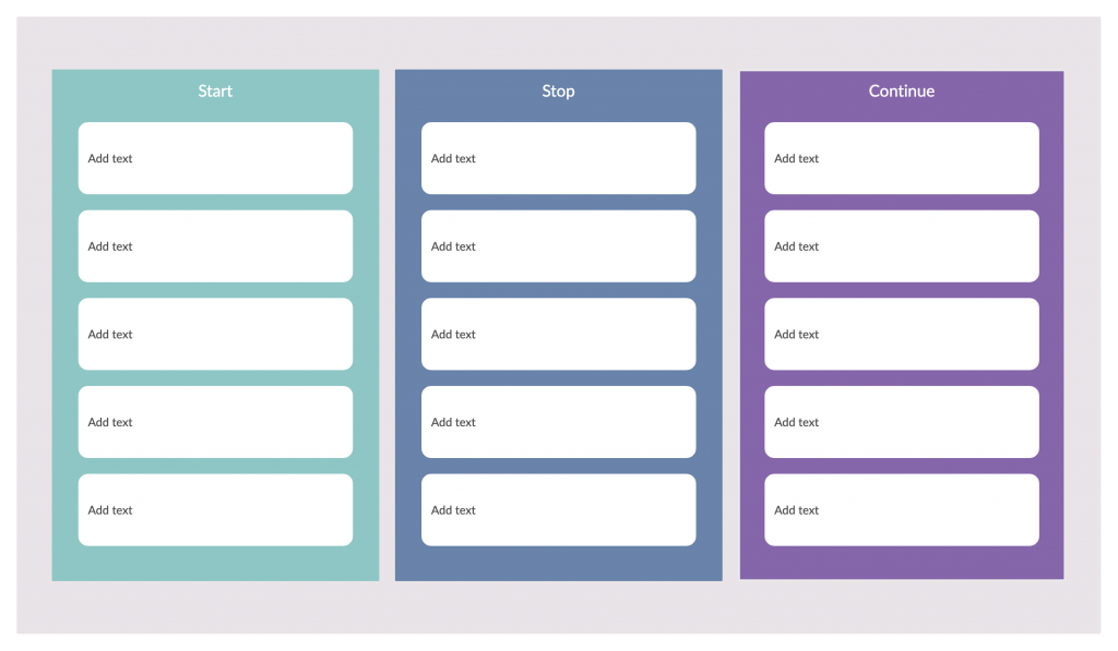 Start Stop Continue Template for Online Retrospectives