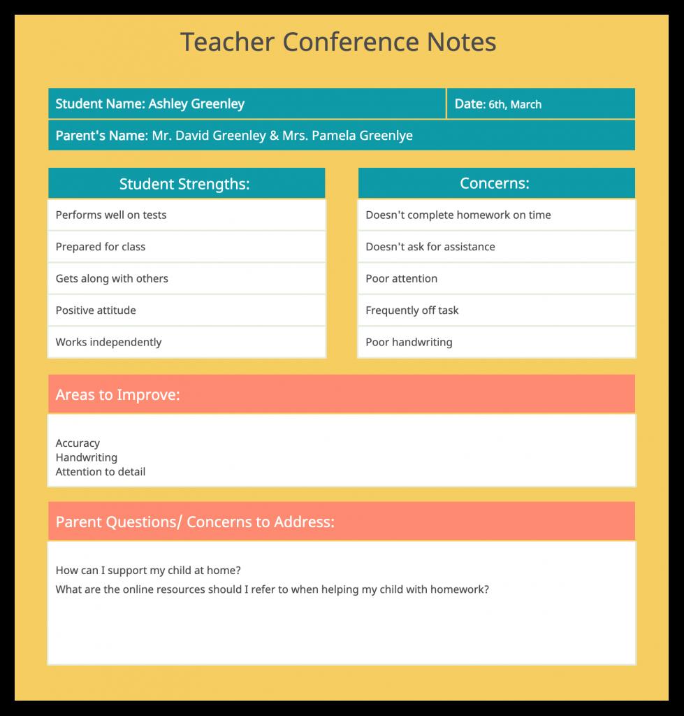 Parent Teacher Conference Template for Classroom Management Strategies
