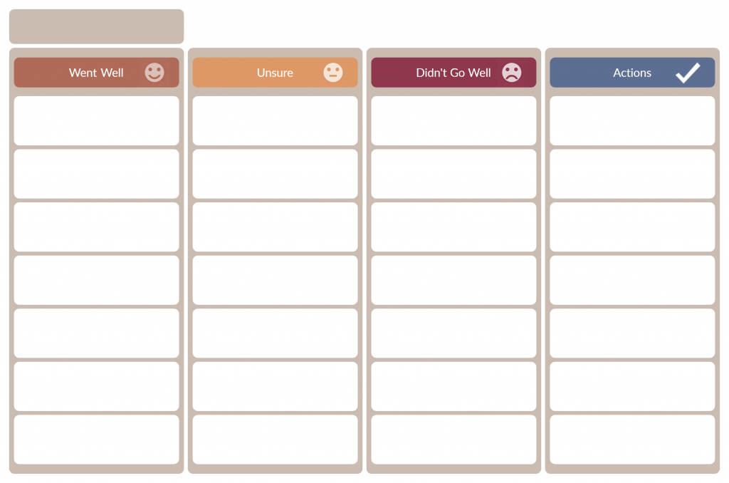 retro board template for product backlog management