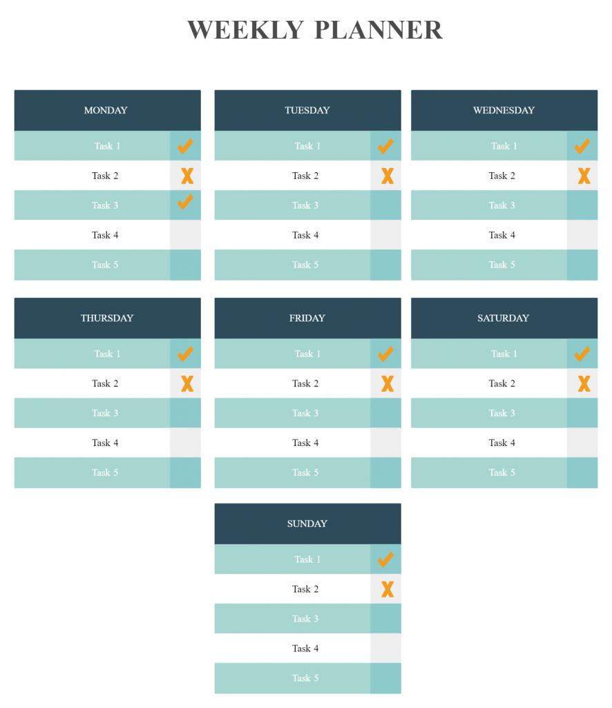 Week planner template for visualizing your to-do list